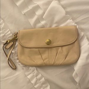 Off White Coach Clutch Wristlet